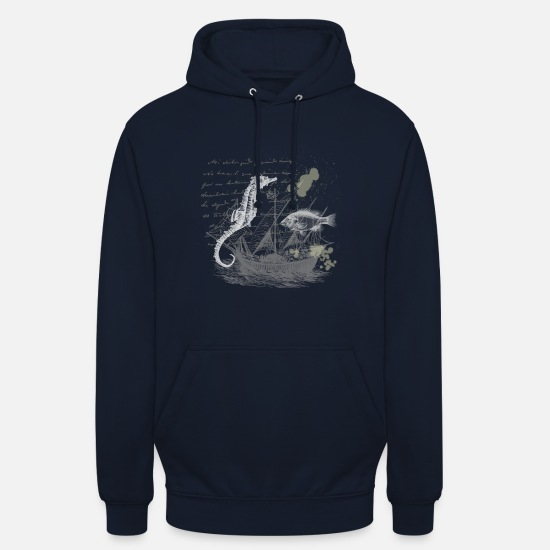 Pêcheur Sweat-shirts - Hippocampe de conception nautique Vintage Steampunk - Sweat à capuche unisexe marine