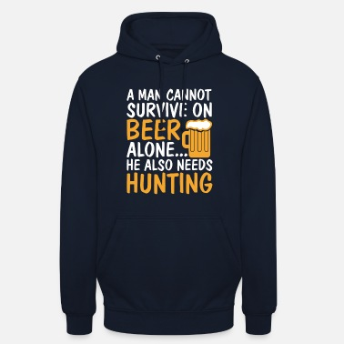 Biggame Man Cannot Survive on Beer Alone - Unisex Hoodie