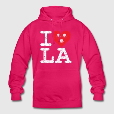I love LA! white with ribbons scratcy look - Unisex Hoodie