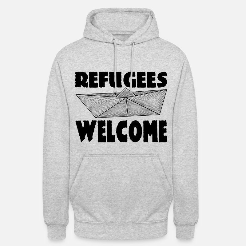 Refugee Welcome Sweat-shirts - REFUGEES WELCOME! - Sweat à capuche unisexe gris chiné
