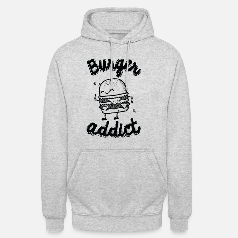 Noir Et Blanc Sweat-shirts - Burger Addict - Sweat à capuche unisexe gris clair chiné