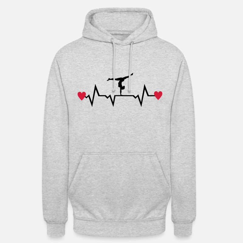 Gymnastique Sweat-shirts - Gymnast, Gymnastics, Heartbeat & Hearts - Sweat à capuche unisexe gris clair chiné