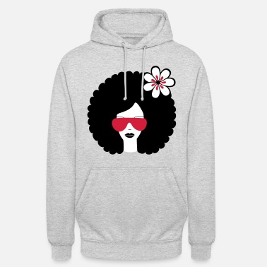 Sonnenbrille Curly haired sommer girl with flower, Retro, Afro - Unisex Hoodie