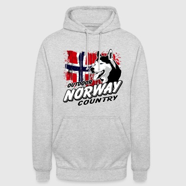 Norway Adventures - Husky & Flag - Unisex Hoodie