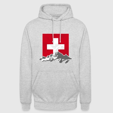 Switzerland - Mountains & Flag - Unisex Hoodie