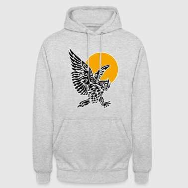 Great horned owl tribal tattoo - Unisex Hoodie