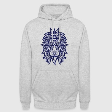 lion super tribal gueule roi jungle - Sweat-shirt à capuche unisexe