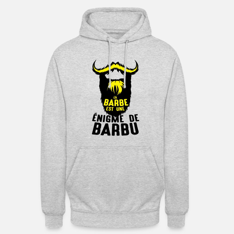 Expression Sweat-shirts - citation barbe enigme barbu expression h - Sweat à capuche unisexe gris clair chiné
