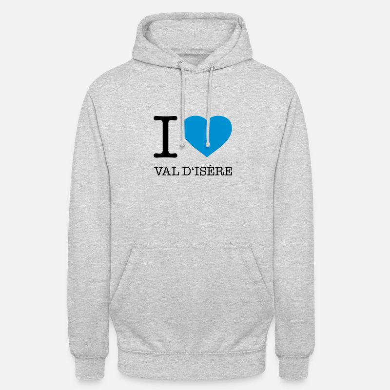 Alps Hoodies & Sweatshirts - I LOVE VAL D'ISERE - Unisex Hoodie heather grey