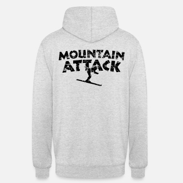 Skigebiet MOUNTAIN ATTACK Wintersport Ski Design (Black) - Unisex Hoodie