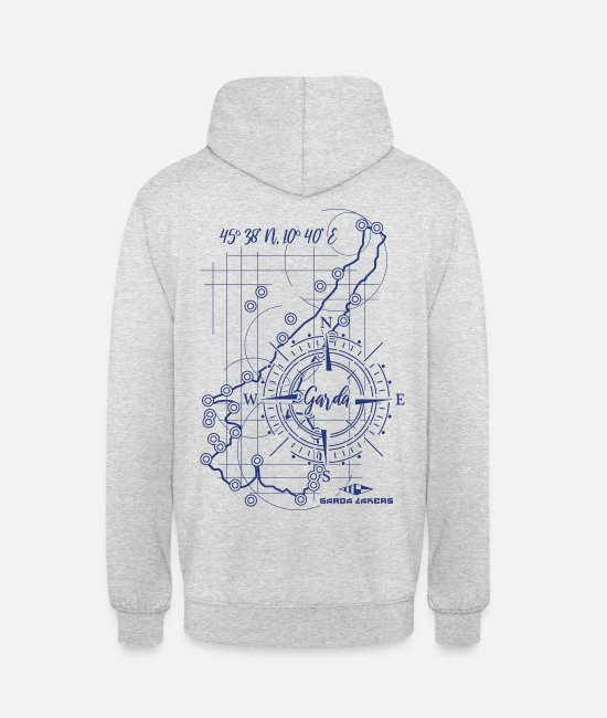 Sail Boat Hoodies & Sweatshirts - Garda Lakers compass map - Unisex Hoodie light heather grey