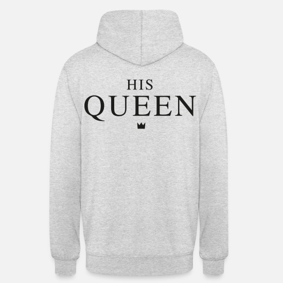 King Queen Pullover & Hoodies - HIS QUEEN - Unisex Hoodie Hellgrau meliert