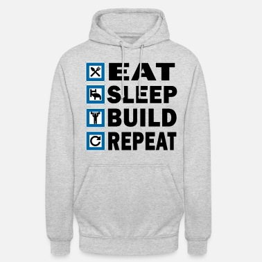 EAT SLEEP BUILD REPEAT - Sweat à capuche unisexe