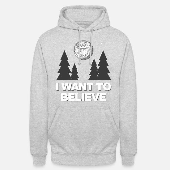 Nuit Sweat-shirts - I Want To Believe - Sweat à capuche unisexe gris clair chiné