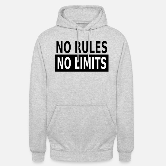 No Pullover & Hoodies - No Rules No Limits - Unisex Hoodie Hellgrau meliert