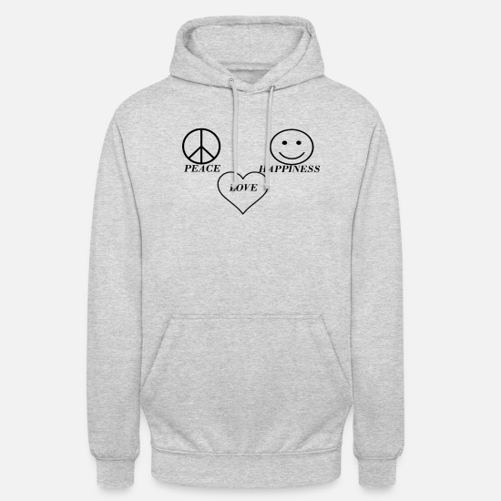 Love Hoodies & Sweatshirts - PEACE LOVE HAPPINESS - Unisex Hoodie light heather grey