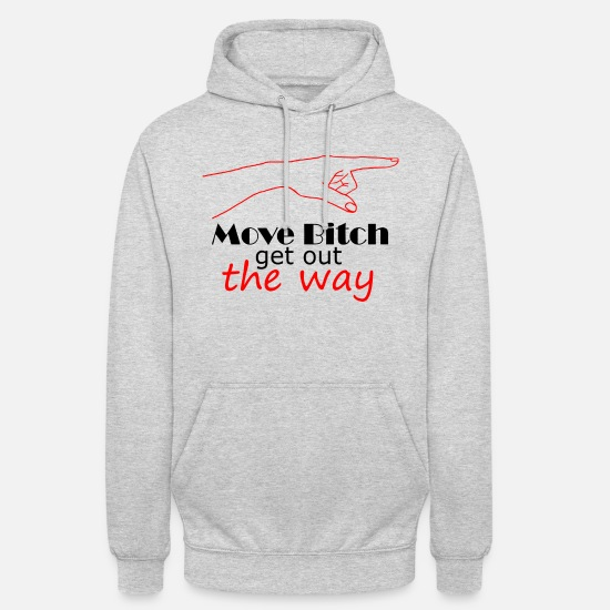 Finger Hoodies & Sweatshirts - Move bitch get out the way Black Red - Unisex Hoodie light heather grey