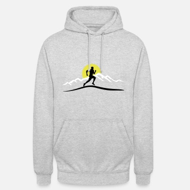 Mountain Running Running, Runner & Mountains & Sun - Unisex Hoodie