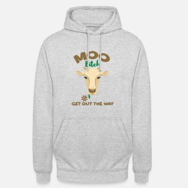 Milk Muh Cow Get Out The Way Funny Cow With Flower Cows - Unisex Hoodie