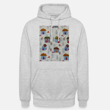 Snowfall Snowy Christmas Day With Snowmen Print Design - Unisex Hoodie