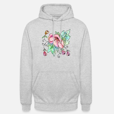 Bloom Watercolour Poppy Flower Bouquet - Unisex Hoodie