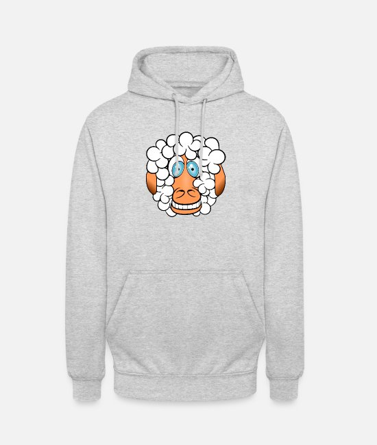 Curly Hair Hoodies & Sweatshirts - Funny sheep with sweet look hairstyle - Unisex Hoodie light heather grey