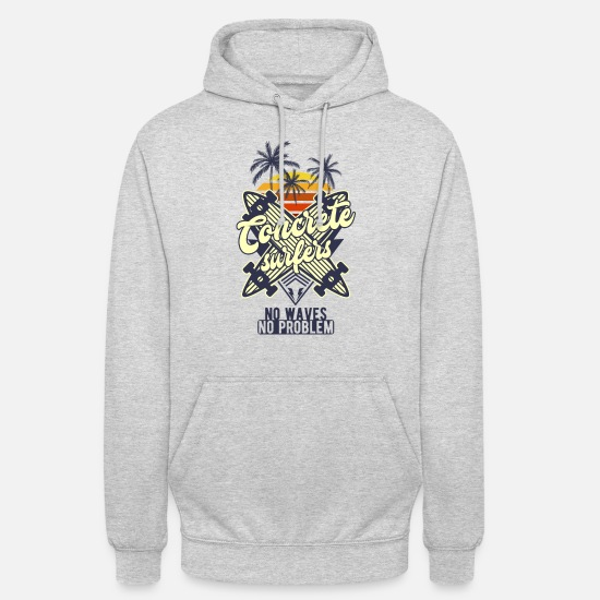 Concrete Hoodies & Sweatshirts - Surf Skateboard Longboard Halfpipe Skating - Unisex Hoodie light heather grey