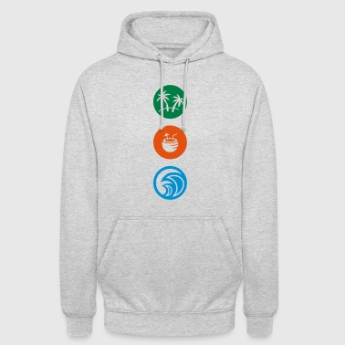 PALM TREEs / COCONUT DRINKS / OCEAN / BEACH - Unisex Hoodie