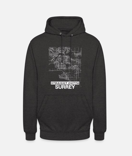 Cartography Hoodies & Sweatshirts - Straight Outta Surrey city map and streets - Unisex Hoodie charcoal grey