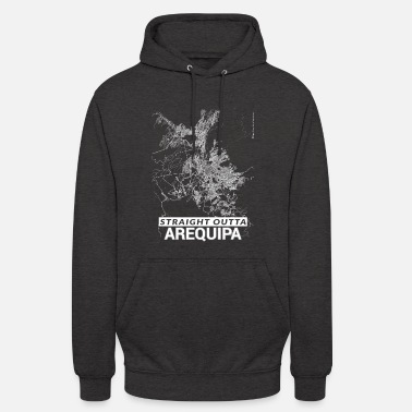 Arequipa Straight Outta Arequipa city map and streets - Unisex Hoodie