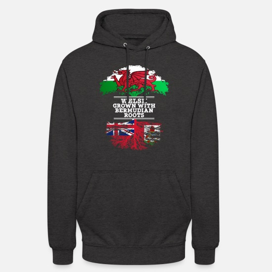 Country Hoodies & Sweatshirts - Welsh Grown With Bermudian Roots - Unisex Hoodie charcoal grey