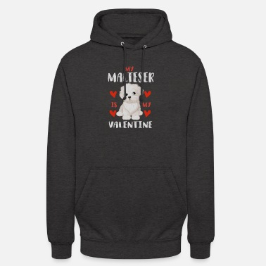 Beady Eyes Sweet Maltese White Puppy for Valentine's Day - Unisex Hoodie