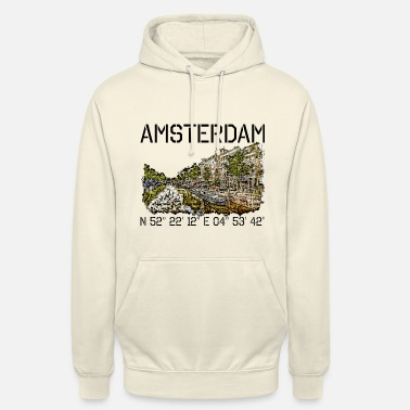 Canal Amsterdam with coordinates and drawing of canal - Unisex Hoodie