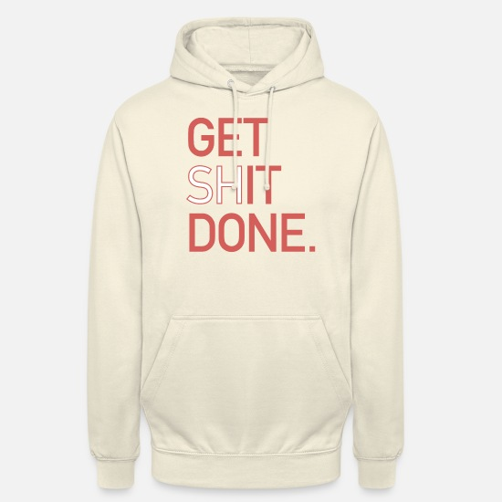 "Negotiate Hoodies & Sweatshirts - Typo ""Get It Done"" Typo Design Print in Red - Unisex Hoodie vanilla"