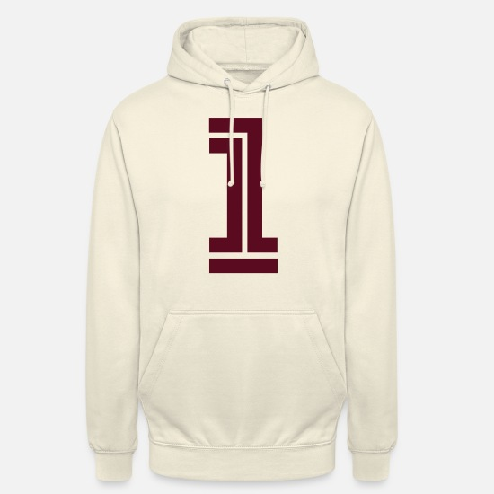 Rugby Sweat-shirts - 1 college, football, Basketball, sport, numéros, - Sweat à capuche unisexe vanille