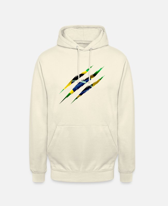 South America Hoodies & Sweatshirts - Brazil Flag Scratches Claws Cut Crack Scratching - Unisex Hoodie vanilla