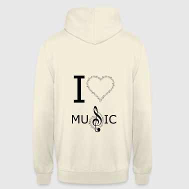 I Love Music Design - Hættetrøje unisex
