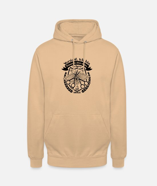 Barber Hoodies & Sweatshirts - Caution I am a hairdresser Scissors are harmless - Unisex Hoodie peach