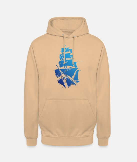 Blue White Hoodies & Sweatshirts - Blue ship - Unisex Hoodie peach