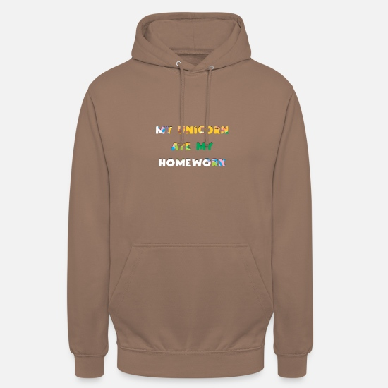 Homework Hoodies & Sweatshirts - Unicorn homework unicorn homework - Unisex Hoodie mocha