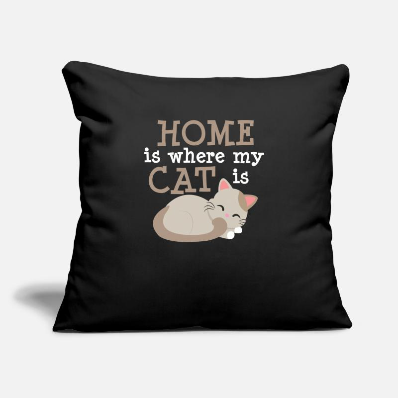 Bestsellers Q4 2018 Pillow cases - Home is where my cat is - Pillow Case black