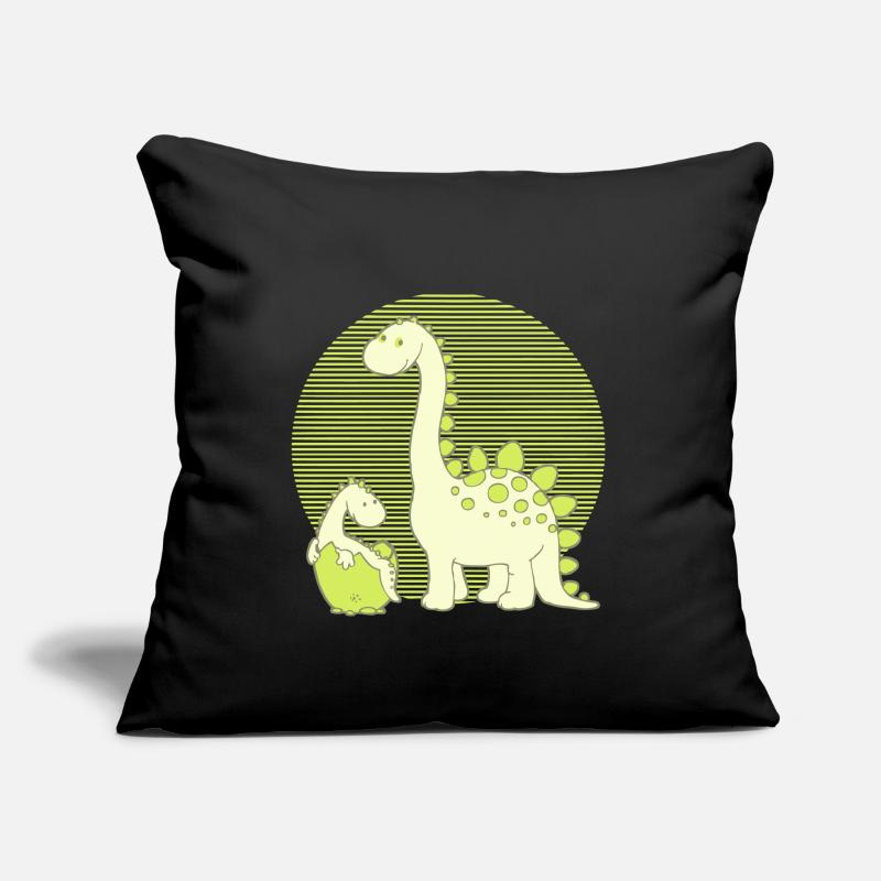 Dinosaurs Pillow cases - Dinosaur Mom with Hatching Egg - Pillowcase 17,3'' x 17,3'' (45 x 45 cm) black