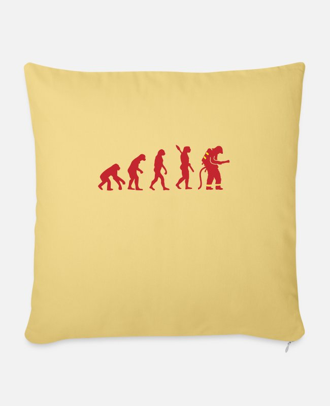 Fire Department Pillow Cases - EVOLUTION FIREFIGHTER FIREFIGHTER FIREFIGHTER - Pillowcase 17,3'' x 17,3'' (45 x 45 cm) washed yellow