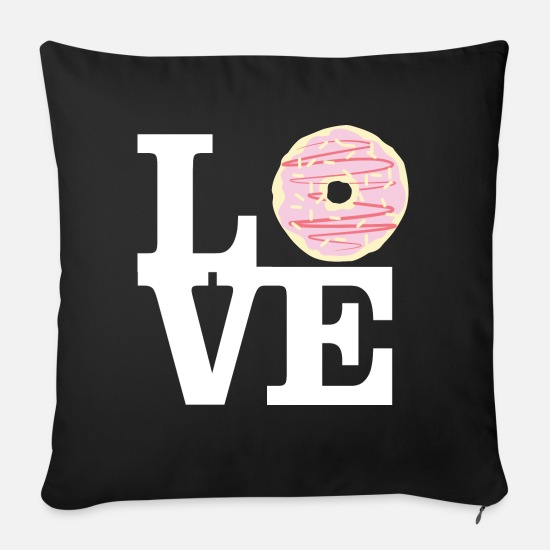 Office Pillow Cases - Love Donuts - Pillowcase 17,3'' x 17,3'' (45 x 45 cm) black