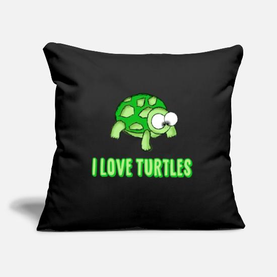 Tartaruga Copricuscini - Idea regalo tartaruga I Love Turtles - Copricuscino nero
