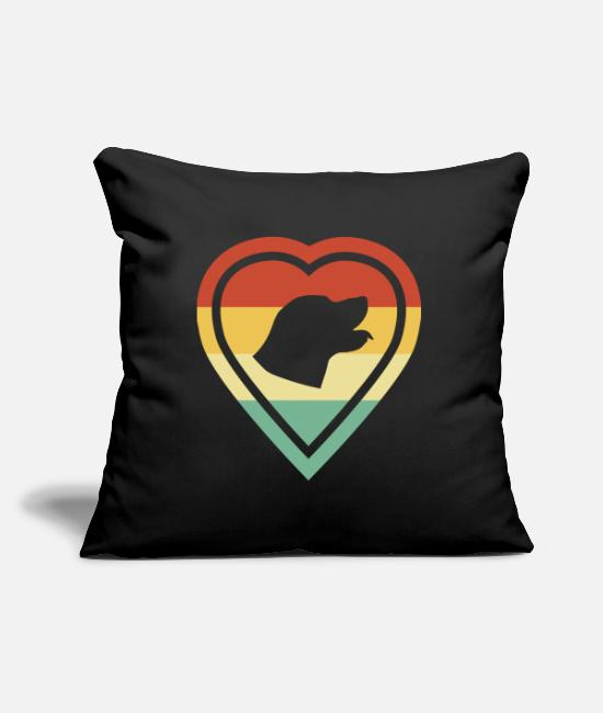 Heart Pillow Cases - Retro heart retro vintage labrador dog love - Pillowcase 17,3'' x 17,3'' (45 x 45 cm) black