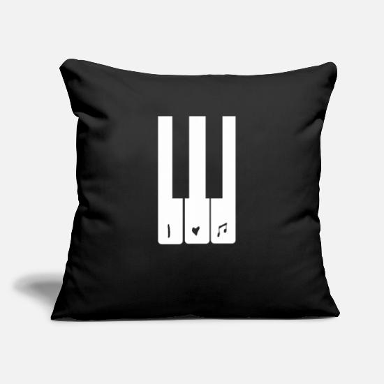 Love Pillow Cases - I LOVE MUSIC Piano piano player note Keyboard - Pillowcase 17,3'' x 17,3'' (45 x 45 cm) black