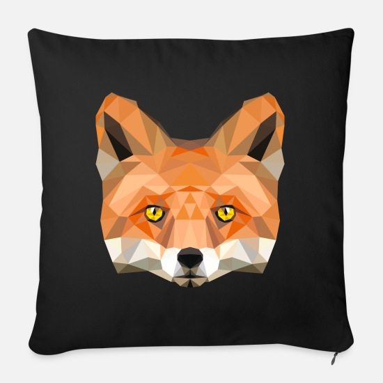 Kids Pillow Cases - fox poly vixen fox illustration low poly head - Pillowcase 17,3'' x 17,3'' (45 x 45 cm) black