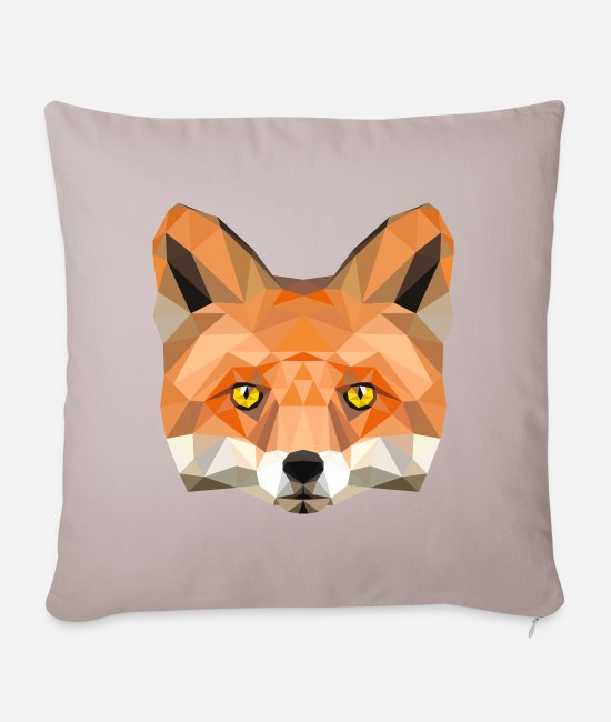 Füchsin Kissenbezüge - Fuchs Kopf Poly Füchsin fox Illustration low poly - Kissenhülle helles Taupe