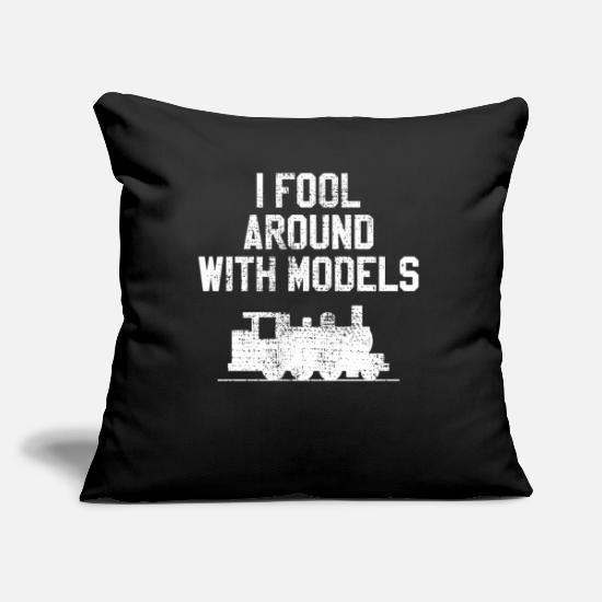 Railway Pillow Cases - Model Railway - Pillowcase 17,3'' x 17,3'' (45 x 45 cm) black